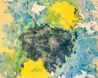 Ink Painting: Blue/ Green/ Yellow