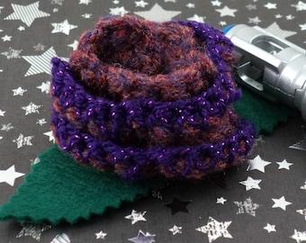 Martha Jones - Crocheted Rose Bar Pin - Dark Pink and Purple (SWG-PS-DWMJ01)