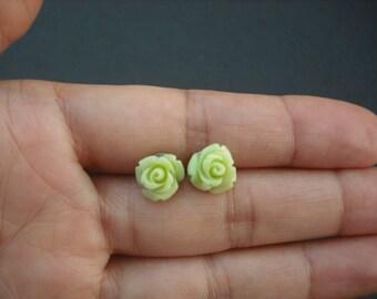 lime green rose post earring