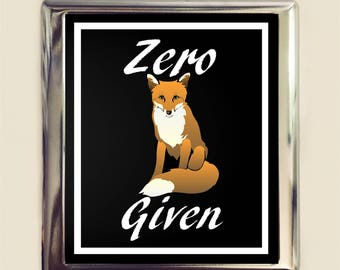 Zero Fox Given Cigarette Case Business Card ID Holder Wallet Pun Wordplay Funny Humor Sarcastic Saying