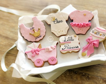 Little Princess Decorated Cookies - Baby Girl Gift - Mum to Be Gift - Baby Shower Biscuits - Onsie cookies - Baby rattle - Bib - Stroller