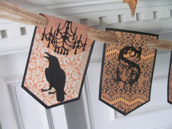 "Victorian Inspired ""SPOOKY"" Halloween Banner featuring Gothic Style Lettering with Ravens & Chandeliers"