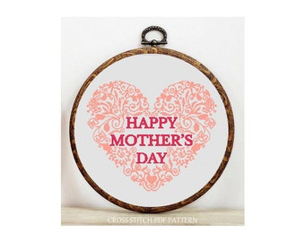 Happy Mother's Day-Cross Stitch Pattern-Modern Sampler-Pdf-Instant Download
