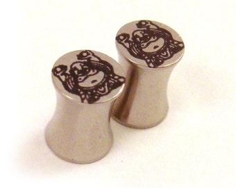 "Buddha 316L Steel Plugs - Double Flared - 2g 0g 00g 7/16"" (11 mm) 1/2"" (13mm) 9/16"" (14mm) Buddhist Metal Gauges"