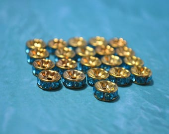 Blue and Gold Rhinestoned Spacer Beads