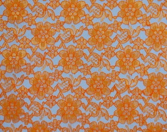 Orange rachelle lace flower mesh sheer polyester home decor by the yard