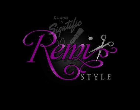 Hair salon logo, FREE business card design, professional hairdresser logo, purple and silver logo, hair dresser logo with scissors, OOAK
