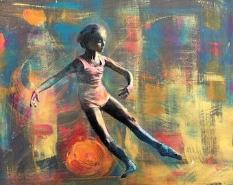 Tiny dancer ballerina original abstract  mixed media painting
