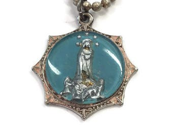 Religious Medal Virgin Mary Charm Medal Mercury Glass Blue Blessed Mother Children Catholic Charm Pendant Antique Pocket Icon Shrine