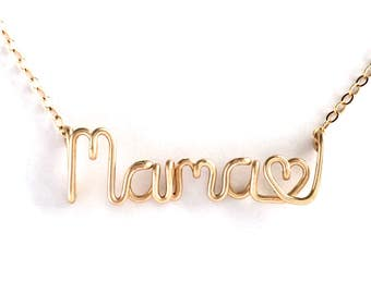 Mama Heart Name Necklace. 14k Gold Filled Mother's Day Necklace. Aziza Jewelry. Valentines Day Gift