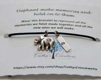 Friendship Bracelet, Best Friend Bracelet, Elephant Memory Bracelet, Charm Bracelet, Bridesmaid Gift, Christmas Gift, Lucky Elephant