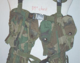 US Army LBE vest Woodland camouflage & belt 1994