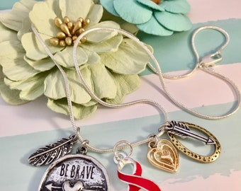 Be Brave Necklace - Red Ribbon Charm - HIV Aids Awareness, Sobriety Drug Free - Heart Disease /  Attack Gift / Stroke Survivor