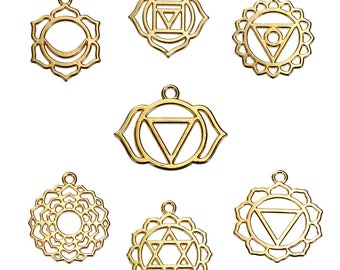 7 Chakra pendants / Golden Flower 3cm / Zen Collection