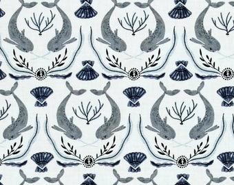 Narwhal Damask Fabric Navy Blue on White Back ground -  Into the Reef by Rae Ritchie Dear Stella - 100% Cotton Shirting