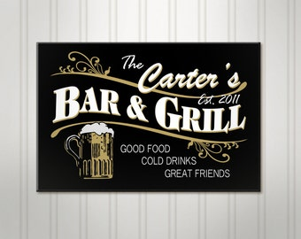 Personalized Beer Sign, Personalized Sign, Personalized Bar and Grill Pub, ManCave Bar Sign, Custom Pub Sign