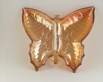 Vintage Marigold Carnival Glass Butterfly Candy Dish