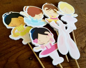 Ballet Friends Party - Set of 12 Assorted Ballerina Girl Cupcake Toppers by The Birthday House