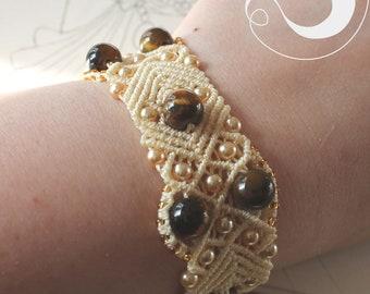 Tigereye light beige Ivory macrame bracelet jewellery