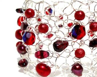 Garnet Bracelet Silver Cuff Bracelet January Birthstone Jewelry Arm Cuff Wide Beaded Bracelet Gemstone Bracelet Delicate Bracelet