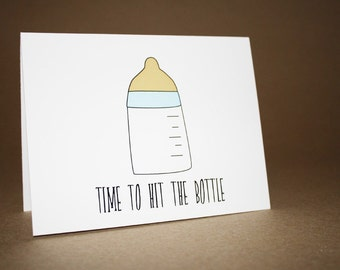 Funny Baby Shower Card - New Baby, Baby Girl, Baby Boy, Baby Shower, baby bottle, nipple, congratulations