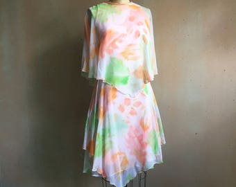 Vintage 60s Sylvia Ann Brand Chiffon Tiered Floral Dress