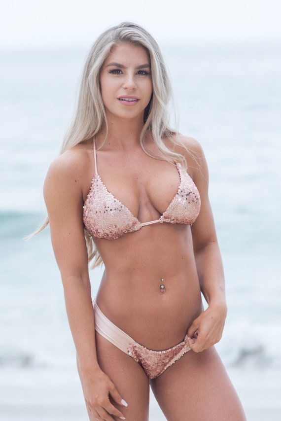 Rose Gold Sequins Bikini, Two Piece Bikini, Cheeky Bikini made by SULTRY SWIMWEAR®