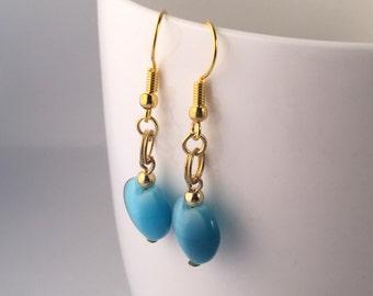 Blue earrings, blue dangle earrings, blue drop earrings, heart earrings, earrings blue, earrings blue, blue bead earrings, teal earrings