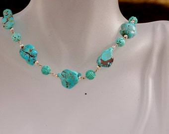Kimadirose American Turquoise Nuggets,  ChineseCarved Turquoise Sterling Necklace