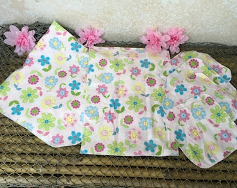 Pink pastel flower power receiving blanket, wash cloth and burp cloth ensemble, baby items, baby shower gifts