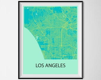 Los Angeles Map Poster Print - Blue and Yellow