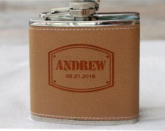Personalized Flask Wedding, Monogram Leather Flask, Wedding Party Gift, Groom Gift, Best Man Gift, Custom Flask, Personalized Groomsmen Gift