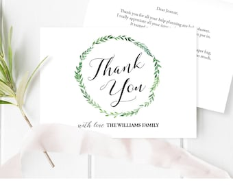 Thank You Card Template, Printable Baby Shower Thank You Note Card, Folded, Green Wreath, Editable, Instant Download, Digital PDF #013TY