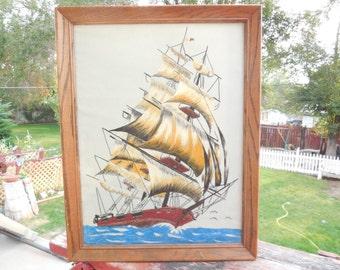 Velvet Painting, Vintage Painting, Painting of Ship, Nautical Decor, Vintage Home Decor, 70 Vintage Velvet Painting of a Beautiful Ship :)s*