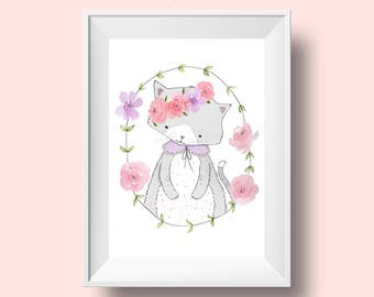 Little Miss Kitten - Nursery Art Print 8 x 10, 8.5 x 11