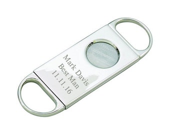 Personalized Cigar Cutter - Groomsman Gifts - Best Man Gift - Gift for Dad - Cigar Cutters - Silver Cigar Cutter