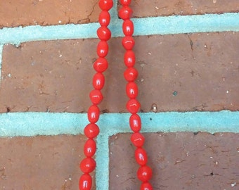 Vintage Trifari Lucite necklace red 18 inch beaded signed necklace