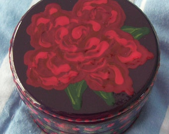 Hand Painted Love Boxes Red Rose Trinket Box Wood