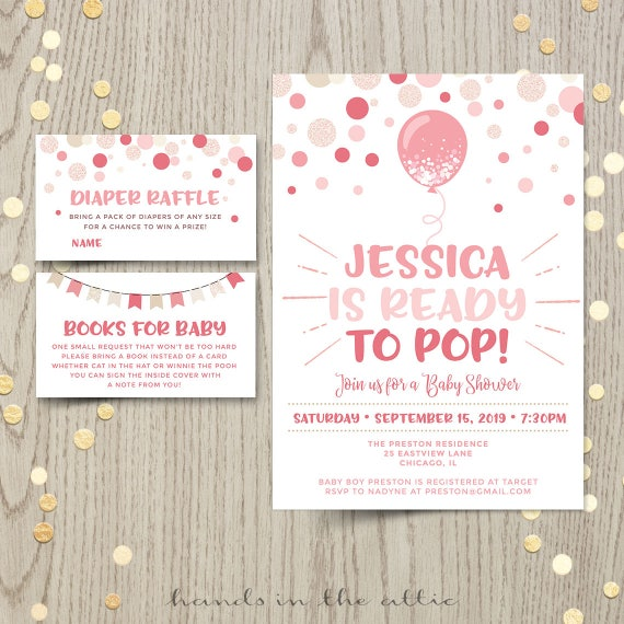 Ready To Pop Invitations Pink Baby Shower Balloon Confetti