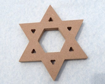 Star of David Plaque -  Use as a Base for Mosaics Decoupage or Decorative Painting - Unfinished MDF Small 6 inch Sign