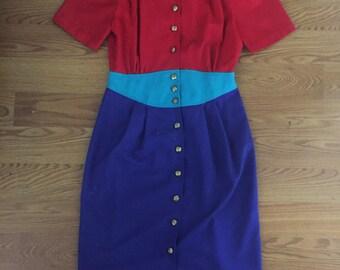 80's Vintage Multi-Colored Block Button Down Dress