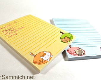 Macaron Cat Notepads in Yellow or Blue