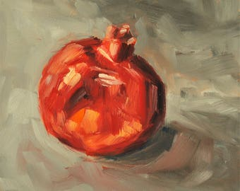 Still Life Fruit Oil Painting - Original Oil Painting - One Pomegranate - 6 x 6