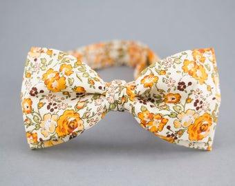 Floral Bow Tie Orange Bow Tie for Men Orange Wedding Bow Tie Groomsmen Bow Tie Cotton Bow Tie Mens Bow Tie Meadow Bow Tie Beige Bow Tie