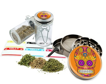 "Sugar Skull - 2.5"" Zinc Alloy Grinder & 75ml Locking Top Glass Jar Combo Gift Set Item # G021615-034"