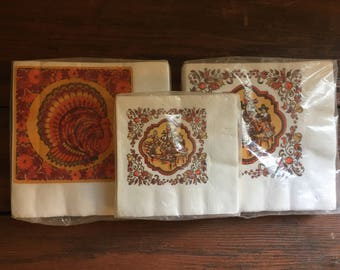 Thanksgiving Paper Napkins / Vintage Holiday / Party Supplies / New in Package / Choose One
