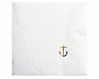 Anchor Napkins - Gold Foil Napkins