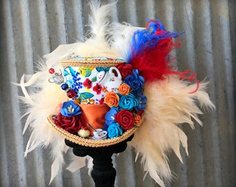 Mini Top Hat, RAinbow Flower Tea Cup hat, Alice in Wonderland, Mad Hatter Hat, Tea Hat,Mad Hatter Tea Party, REd and Blue Tea Hat