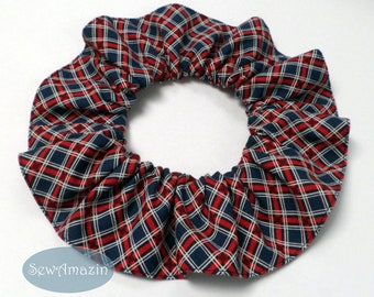 Love and Glory Patriotic Plaid Pet Scrunchie Neck Ruffle, 12 inch | SewAmazin