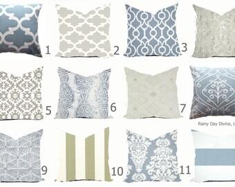 Pillows Cover Custom  - Dusty Ice Blue Spa White Ash Smoke Milky Gray Grey Modern Geometric Tribal Quatrefoil 18x18, 16x16